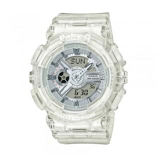 [Official Warranty] Casio Baby-G BA-110CR-7A Women's Digital Analog White Transparent Resin Strap Watch (watch for women / jam tangan perumpuan / casio baby-g watch for women / casio baby-g watch / women watch)