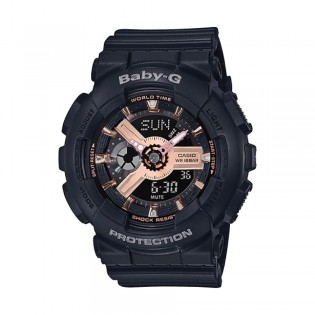 [Official Warranty] Casio Baby-G BA-110RG-1A Women's Digital Analog Rose Gold Dial Balck Strap Watch (watch for women / jam tangan perumpuan / casio baby-g watch for women / casio baby-g watch / women watch)