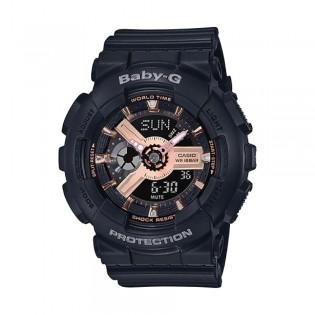 [Official Warranty] Casio Baby-G BA-110RG-1A Women's Digital Analog Rose Gold Dial Balck Strap Watch (watch for women / jam tangan perumpuan / casio baby-g watch for women / casio baby-g watch / women watch)