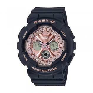[Official Warranty] Casio Baby-G BA-130-1A4 Women's Digital Analog Pink Dial Black Strap Watch (watch for women / jam tangan perumpuan / casio baby-g watch for women / casio baby-g watch / women watch)