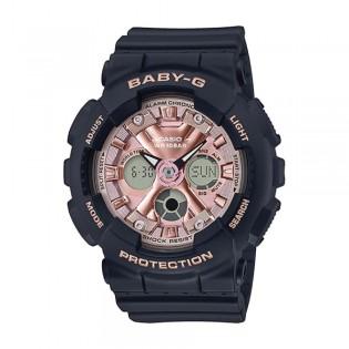 [Official Warranty] Casio Baby-G BA-130-1A4 Women's Digital Analog Pink Dial Black Strap Watch (watch for women / jam tangan perumpuan / casio baby-g watch for women / casio baby-g watch / women watch)
