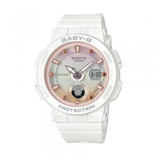 [Official Warranty] Casio Baby-G BGA-250-7A2 Women's Digital Analog Pink Dial White Strap Watch (watch for women / jam tangan perumpuan / casio baby-g watch for women / casio baby-g watch / women watch)