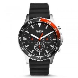 Fossil CH3057 Men's Crewmaster Sport Chronograph Black Silicone Watch