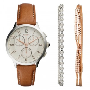 Fossil CH4001SET Women's Abilene Chronograph Leather Watch And Jewelry Box Set