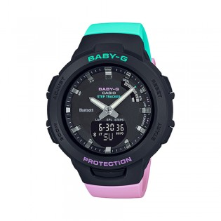[Official Warranty] Casio Baby-G BSA-B100MT-1A Women's Digital Analog Sport Pink  GreenStrap Watch (watch for women / jam tangan perumpuan / casio baby-g watch for women / casio baby-g watch / women watch)