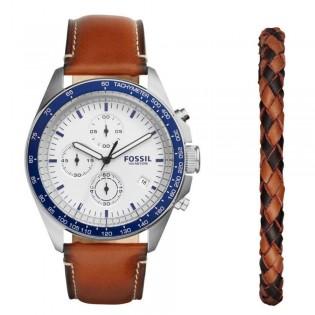 Fossil CH3090SET Men's Sport 54 Chronograph Luggage Leather Bracelet Box Set