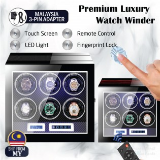 High Quality Premium Luxury Auto Watch Winder Automatic Rotate Watch Box 6 Slot PU Carbon Leather Watch Collector LED