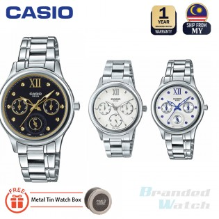 Casio LTP-E306D-7A2VDF Original Women's Multifunction Day Date Steel Girl Dress Watch LTP-E306D-7A2 LTP-E306D-7A LTP-E306D-1A