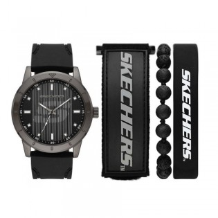 [100% Original] Skechers SR9038 Men's Analog Quartz Black Silicone Strap Watch