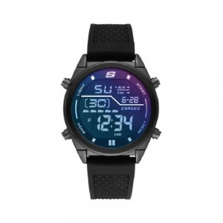 [100% Original] Skechers SR5142 Men's Digital Quartz Black Silicone Strap Watch