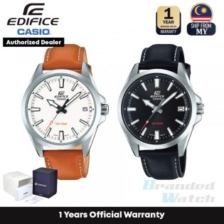 [Official Warranty] Casio Edifice EFV-100L Series Men's Analog Quartz Leather Strap Watch EFV-100L-1A EFV-100L-7A