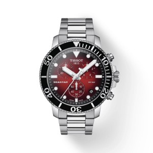 [Official Warranty] Tissot T120.417.11.421.00 Men's Seastar 1000 Quartz Chronograph Red Dial Stainless Steel Strap Watch (watch for men / jam tangan lelaki / tissot watch for men / tissot watch / men watch)