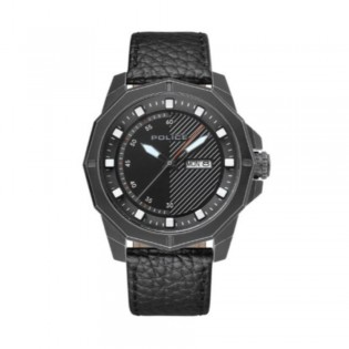 [100% Original] Police PL15667JSQB/02 Men's Gemert Black Dial Black Leather Strap Watch (watch for man / jam tangan lelaki / police watch for men / police watch / men watch / watch for men)