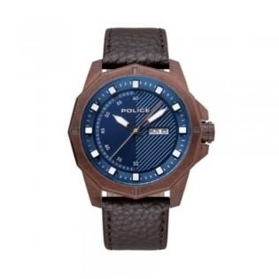 [100% Original] Police PL15667JSQBZ/03 Men's Gemert Blue Dial Brown Leather Strap Watch (watch for man / jam tangan lelaki / police watch for men / police watch / men watch / watch for men)