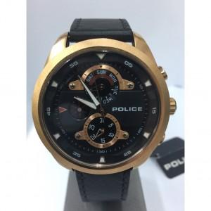[100% Original] Police PL14836JSR/02 Men's Marine Black Dial Black Leather Strap Watch (watch for man / jam tangan lelaki / police watch for men / police watch / men watch / watch for men)