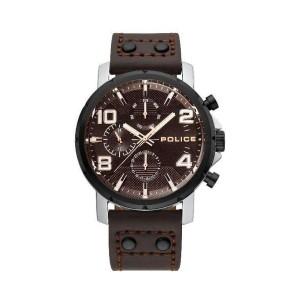 [100% Original] Police PL15459JYSTB/12 Men's Super Metal Brown Leather Strap Watch (watch for man / jam tangan lelaki / police watch for men / police watch / men watch / watch for men)