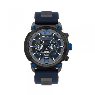 [100% Original] Police PL14378JSU/13P Men's Multifunction Armor Blue Silicone Strap Watch (watch for man / jam tangan lelaki / police watch for men / police watch / men watch / watch for men)