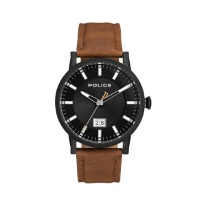 [100% Original] Police PL15404JSB/02A Men's Collin Black Dial Brown Leather Strap Watch (watch for man / jam tangan lelaki / police watch for men / police watch / men watch / watch for men)