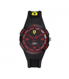 [Official Warranty] Scuderia Ferrari 840036 Men's APEX Analog Quartz Black Dial Black Silicone Strap Watch (watch for men / jam tangan lelaki / ferrari watch for men / ferrari watch / men watch)