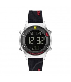 [Official Warranty] Scuderia Ferrari 830756 Men's Digital Black Dial Black Silicone Strap Watch (watch for men / jam tangan lelaki / ferrari watch for men / ferrari watch / men watch)