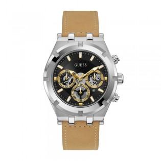 [Official Warranty] Guess GW0262G1 Men's Silver Tone Case Multifunction Quartz Black Dial Beige Leather Strap Watch (watch for men / jam tangan lelaki / guess watch for men / guess watch / men watch)
