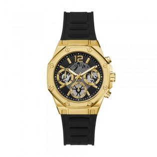 [Official Warranty] Guess GW0256L1 Women's Gold Tone Case Multifunction Quartz Black Dial Black Silicone Strap Watch (watch for women / jam tangan perumpuan / guess watch for women / guess watch / women watch)