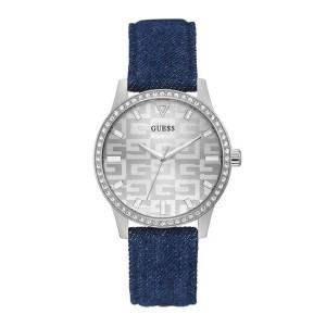 [Official Warranty] Guess GW0291L1 Women's Silver Tone Case Silver Dial Blue Leather Strap Watch (watch for women / jam tangan perumpuan / guess watch for women / guess watch / women watch)