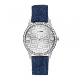 [Official Warranty] Guess GW0291L1 Women's Silver Tone Case Silver Dial Blue Leather Strap Watch (watch for women / jam tangan perumpuan / guess watch for women / guess watch / women watch)