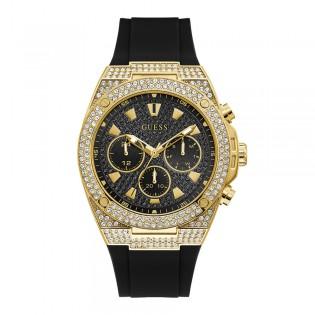 [Official Warranty] Guess GW0060G2 Men's Gold Tone Case Multifunction Quartz Black Dial Black Leather Strap Watch (watch for men / jam tangan lelaki / guess watch for men / guess watch / men watch)