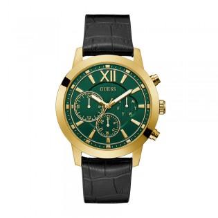 [Official Warranty] Guess GW0219G2 Men's Gold Tone Case Multifunction Quartz Green Dial Black Leather Strap Watch (watch for men / jam tangan lelaki / guess watch for men / guess watch / men watch)