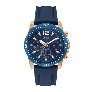 [Official Warranty] Guess GW0211G4 Men's Commander Multifunction Quartz Blue Dial Blue Silicone Strap Watch (watch for men / jam tangan lelaki / guess watch for men / guess watch / men watch)