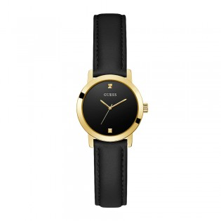 [Official Warranty] Guess GW0246L3 Women's Gold Tone Case Black Dial Black leather Starp Watch (watch for women / jam tangan perumpuan / guess watch for women / guess watch / women watch)