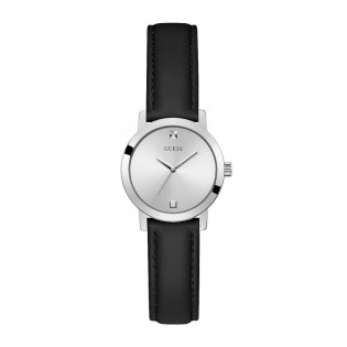 [Official Warranty] Guess GW0246L2 Women's Silver Tone Case Silver Dial Black leather Starp Watch (watch for women / jam tangan perumpuan / guess watch for women / guess watch / women watch)