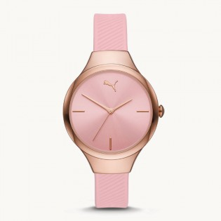 [Official Warranty] Puma P1049 Women's Contour Three-Hand Pink Polyurethane Strap Watch (watch for women / jam tangan perumpuan / puma watch for women  / women watch)