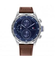 [Official Warranty] Tommy Hilfiger 1791807 Men's Trent Quartz Blue Dial Brown Leather Strap Watch