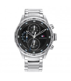 [Official Warranty] Tommy Hilfiger 1791805 Men's Trent Quartz Black Dial Stainless Steel Strap Watch