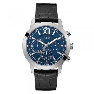 [Official Warranty] Guess GW219G1 Men's Multifunction Quartz  45mm Blue Dial Black Leather Strap Watch (watch for men / jam tangan lelaki / guess watch for men / guess watch / men watch)