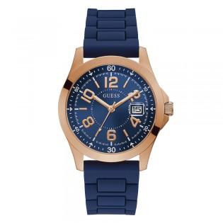 [Official Warranty] Guess GW0058G3 Men's Analog Quartz 42mm Blue Dial Blue Silicone Strap Watch (watch for men / jam tangan lelaki / guess watch for men / guess watch / men watch)