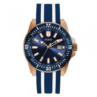 [Official Warranty] Guess GW0055G1 Men's Analog Quartz 46mm Blue Dial Blue Silicone Strap Watch (watch for men / jam tangan lelaki / guess watch for men / guess watch / men watch)