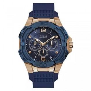 [Official Warranty] Guess W1254G3 Men's Genesis Quartz 46mm Blue Dial Blue Silicone Strap Watch (watch for men / jam tangan lelaki / guess watch for men / guess watch / men watch)