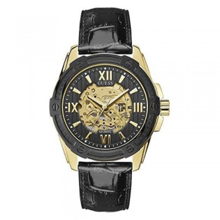 [Official Warranty] Guess W1308G2 Men's Automatic 46mm Black Dial Black Leather Strap Watch (watch for men / jam tangan lelaki / guess watch for men / guess watch / men watch)