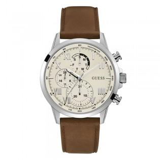 [Official Warranty] Guess GW0011G1 Men's Chronograph Quartz 44mm White Dial Brown Leather Strap Watch (watch for men / jam tangan lelaki / guess watch for men / guess watch / men watch)
