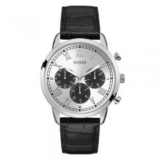 [Official Warranty] Guess GW0067G1 Men's Hendrix Chronograph Quartz 44mm Silver Dial Black Leather Strap Watch (watch for men / jam tangan lelaki / guess watch for men / guess watch / men watch)
