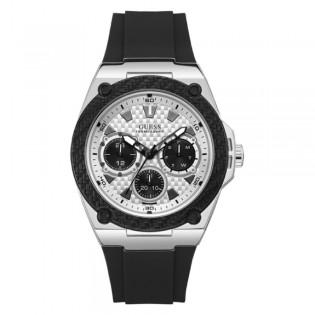 [Official Warranty] Guess W1049G3 Men's Legacy Quartz 46mm White Dial Black Silicone Strap Watch (watch for men / jam tangan lelaki / guess watch for men / guess watch / men watch)