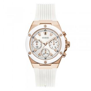 [Official Warranty] Guess GW0030L3 Women's Chronograph Quartz 39mm White Dial White Silicone Strap Watch (watch for women / jam tangan perumpuan / guess watch for women / guess watch / women watch)