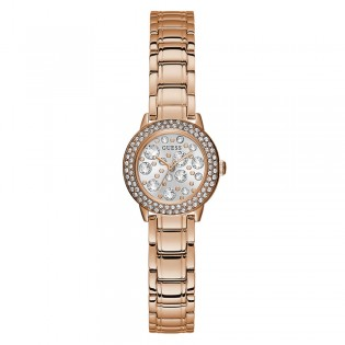 [Official Warranty] Guess GW0028L3 Women's Analog Quartz 25mm Silver Dial Rose Gold Stainless Steel Strap Watch (watch for women / jam tangan perumpuan / guess watch for women / guess watch / women watch)