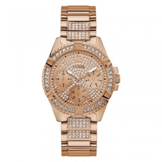 [Official Warranty] Guess W1156L3 Women's Chronograph Quartz 40mm Rose Gold Dial Rose Gold Stainless Steel Strap Watch (watch for women / jam tangan perumpuan / guess watch for women / guess watch / women watch)
