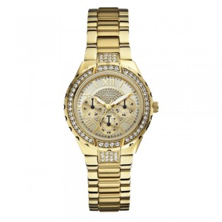 [Official Warranty] Guess W0111L2 Women's Chronograph Quartz 36mm Gold Dial Gold Stainless Steel Strap Watch (watch for women / jam tangan perumpuan / guess watch for women / guess watch / women watch)