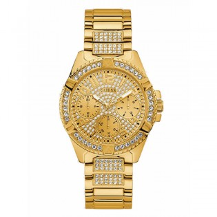 [Official Warranty] Guess W1156L2 Women's Chronograph Quartz 40mm Gold Dial Gold Stainless Steel Strap Watch (watch for women / jam tangan perumpuan / guess watch for women / guess watch / women watch)