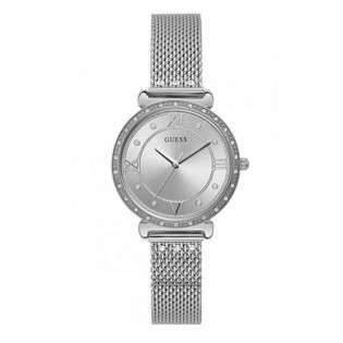 [Official Warranty] Guess W1289L1 Women's Jewel Quartz 34mm Silver Dial Silver Stainless Steel Strap Watch (watch for women / jam tangan perumpuan / guess watch for women / guess watch / women watch)